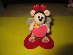 polymer clay Valentine TeddyBee figurine by missdolphin1963, $15.00
