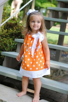 NEW.. Girls Pillowcase Dress.. Orange and White Dots.. Collegiate... PERFECT for VOL fans.. Clemson, Auburn.. Sz:3m-6y. $30.00, via Etsy.