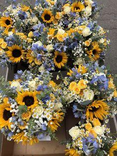 Wedding Bouquets- sunflowers chamomile babys breath delphinium spray roses and roses eucalyptus Rose Wedding, Fall Wedding, Dream Wedding, Wedding Ideas, Indoor Wedding, Church Wedding, Wedding Nails, Trendy Wedding, Wedding Shoes