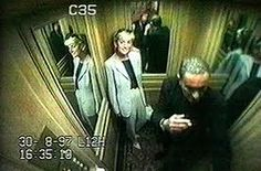 One of the last photos (from security camera) of Princess Diana with Dodi Al Fayed in elevator of the Ritz Hotel, Paris the night they died.