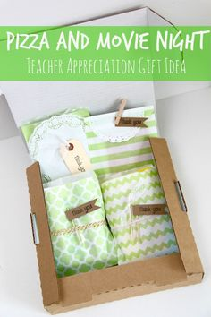 Pizza and a Movie Teacher Appreciation Gift Idea-- I think this is wonderful! -- @Jodi Lingle