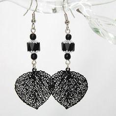 """Boucles d'oreilles """"feuilles elégantes"""" - perles en verre de bohême, laiton et métal argenté -"""