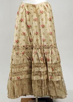 Printed Silk Petticoat, French, 1896-1898.