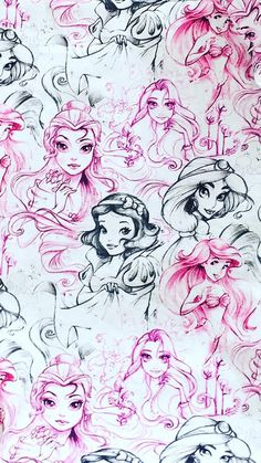Skizze der Disney Prinzessin Stoff