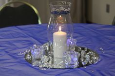 Impressive DIY Hurricane Vase Wedding Table Centerpiece With Crystals On Recycled Glass