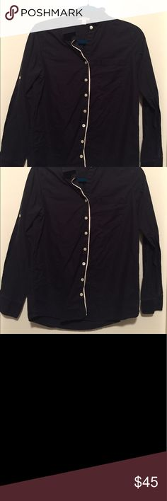 """Dark Blue Banana Republic Button Down Top Great condition! Fits true to size S. Measurements (approx, measured with tape measure): arm length - 23"""", arm width - 4.5/5"""", length from top to bottom - 25"""", chest length across - 18"""", length from shoulder to armpit - 9"""". 100% cotton, RN 54023. Machine wash cold, only non-chlorine bleach when needed, tumble dry medium, warm iron only or dry clean. Banana Republic Tops Button Down Shirts"""