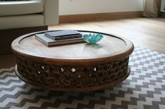 Carved Wood Coffee Table from west elm via @Apartment Therapy