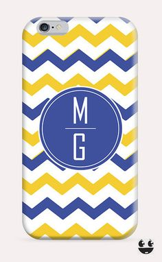 iPhone Case iPhone 4 Case & iPhone 4S, Case iphone 5 Case & iPhone 5S Case, iPhone 5C Case, iPhone 6 Case & iPhone 6, Plus  Yellow Blue Chevron Monogram