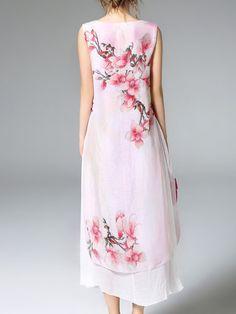 Sleeveless Crew Neck Resort Floral A-line Midi Dress