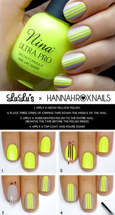 I usually don't pin nail stuff, but this is EFD yellow! Our Firetrucks are this color, and with the grey, it looks like the reflective stripes on gear, I would actually do this for a fire dinner.   Gray and Neon Yellow Striped Mani