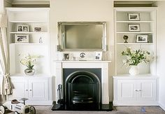 Newest Images victorian Fireplace Remodel Concepts Alcove Cupboards for your Living room Fireplace Remodel, Alcove Cupboards, Living Room Shelves, Freestanding Fireplace, Living Room Cupboards, Victorian Fireplace, Alcove Ideas Living Room, Cosy Living Room, Victorian Living Room
