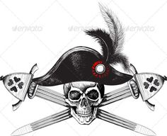 Pirate symbol of a skull in the captain's hat #GraphicRiver Pirate symbol of a skull in the captain's hat and two crossed swords. In addition to the layered EPS-file in the archive are transparent PNG image file general and individual PNG files, Hats, Swords, and Skulls (look in the preview) Created: 12February13 GraphicsFilesIncluded: TransparentPNG #JPGImage #VectorEPS Layered: Yes MinimumAdobeCSVersion: CS Tags: battle #black #bone #captain #cross #crossed #danger #death #emblem #flag…