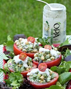 Chickpea, Cucumber & Kale Tomato Cups with Feta Dill Dressing