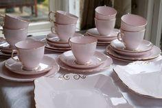 Tuscan pink and gold china tea set.