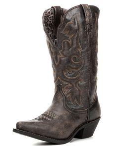 Women's Access Deep Dip Cowboy Boot - Black / Tan,