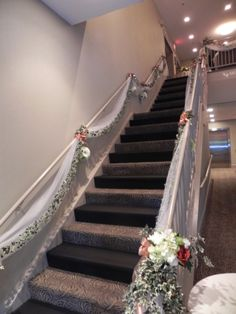 Stair entry dcor looks extra special for a wedding celebration tony and amandas wedding staircase battery operated lights in the bouquets junglespirit Images