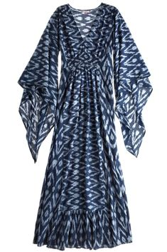 this ikat caftan dress stirs up visions of lounging like YSL in les jardins majorelle. Look Fashion, Hijab Fashion, Fashion Dresses, Womens Fashion, Fashion Design, Caftan Dress, Dress Skirt, Dress Up, Boho Dress