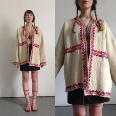 Vtg Bohemian Wool Jacket EMBROIDERED Oversized Fit BOHO Festival Outerwear Gypsy Blanket Coat Open Front Hippie Sweater Super Warm and Cozy