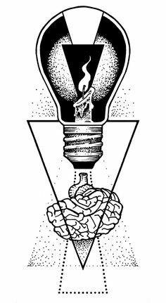 Alfonso Massaro Portfolio : Photo lightbulb idea for rutger Cool Art Drawings, Art Drawings Sketches, Tattoo Sketches, Tattoo Drawings, Ink Illustrations, Illustration Art, Body Art Tattoos, Small Tattoos, Inspirational Artwork