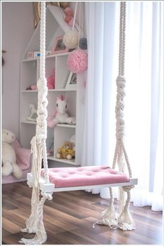 florists OhSwing Swing Medium on childrens ropes 60 x 25 cm. Elegant swing on ropes with padded seat in powder pink color. The swing can be a beautiful decoration in a nursery or living room Cute Room Decor, Baby Room Decor, Bedroom Decor, Bedroom Ideas, Childrens Room Decor, Girl Bedroom Designs, Design Bedroom, Princess Room, Princess Bedrooms