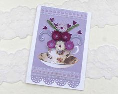 Quilling Greeting Card Paper Quilled  Purple and Lavender