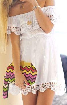White Eyelet Scrolled Lace Dress ♥