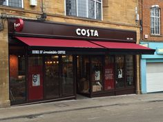 A very snazzy set of awnings installed @ Costa Coffee Yeovil Costa Coffee, Cafe Design, Drinks, Product Design, Outdoor Decor, Entrance, Juice, Exterior, Patio