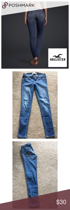 """Hollister Skinny Jeans Super cute and still look new Hollister skinny jeans. I have worn once that I can remember. NOTE: cover photo is very similar- hard to tell it's so dark- but use real pics for more realistic perspective :). Size 3R 26"""" // 29"""" inseam and adorbs!!  Hollister Jeans Skinny"""