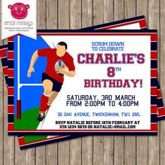 Personalised Rugby Party Invitation - DIY Printable or Printed for You