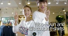 Woo-Hyun and Seul-Bi's couple t-shirts. 『 Episode 8 』 - They go shopping and Woo-Hyun suggests to get couple tees, this is the cutest!