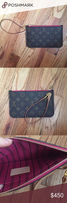 Louis Vuitton Neverfull PM Pochette Pivoine Used twice, in like new condition. Pivoine interior. Date code AR4164. NO bundle discount! NO offers!  Any question please ask! Louis Vuitton Bags Clutches & Wristlets