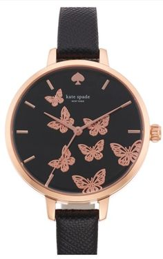 Women's kate spade new york 'metro' butterfly dial leather strap watch, - Black/ Rose Gold from Nordstrom. Butterfly Fashion, Butterfly Jewelry, Butterfly Print, Monarch Butterfly, Color Type, Trendy Watches, Black Watches, Men's Watches, Jewelry Accessories
