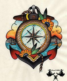 bonitas-ideas-de-diseños-vintage-rosa-de-los-vientos-tatuaje-diseño-colorido-ideas-de-tattoos-de-la-escuela-vieja