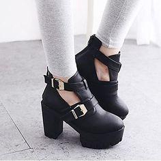 zapatos de las mujeres del dedo del pie redondo botas de charol tacón grueso - USD $ 26.24