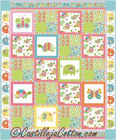 Easy to make quilt pattern using some printed blocks. Fabric line shown is Bundle of Love by Deborah Edwards for Northcott. Cute Quilts, Lap Quilts, Panel Quilts, Quilt Blocks, Patchwork Quilting, Quilting Projects, Quilting Designs, Sewing Projects, Mermaid Quilt
