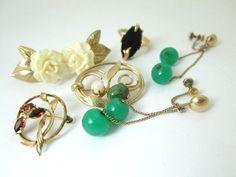 lovely GOLD filled garnet celluloid JADE pins by vintagejewels4u, $20.00