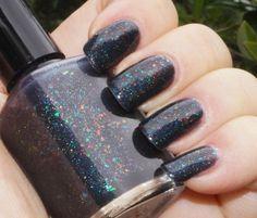 Rainbow in the Dark, black multichrome flakie & linear holo – Indigo Bananas