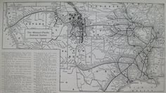 1918 MISSOURI PACIFIC RAILROAD Map Black and White by plaindealing