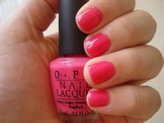 OPI--Strawberry Margarita.  It's a classic bright pink creme polish with just a touch of a blue undertone to make it even more flattering.  Strawberry Margarita will forever remain my go to polish for summer.