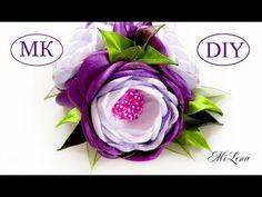 Зажим для волос с тройным цветком, МК / DIY Hairclip with triple flower - YouTube Diy Lace Ribbon Flowers, Kanzashi Flowers, Ribbon Art, Diy Ribbon, Ribbon Crafts, Flower Crafts, Fabric Flowers, Paper Flowers, Diy Bow