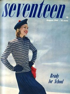 The back to school fashion look on our August 1947 cover involved a red lip, turtleneck, maxi-skirt, and beret. Today at Seventeen, we love all of these trends today… just don't rock them all at once!
