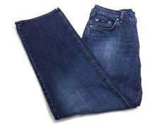 Hugo Boss Jacksons 34/32 Men's Blue Cotton Denim Jeans #HUGOBOSS #ClassicStraightLeg