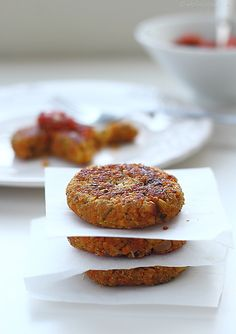 Quinoa and veggie cakes.  Healthy, gluten-free, and a good option for the vegetarians in your life