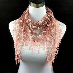 Summer Wintersweet Embroidery Tassel Triangle Scarf - NUDE PINK