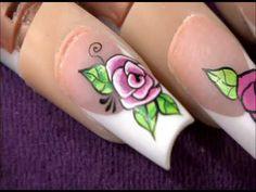 Decoracion De Uñas Rosas - Como Pintar Rosas Fácilmente - Roses Nail Art - NLC - YouTube Toe Nails, Polish, Nail Art, Painting, Beauty, Veronica, Anna, Youtube, Nail Design