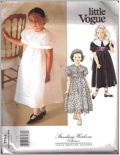 Vogue 1754 Girl's Dress Strasburg Heirloom Collection Size: 2-3-4 or 5-6-6X Uncut Sewing Pattern