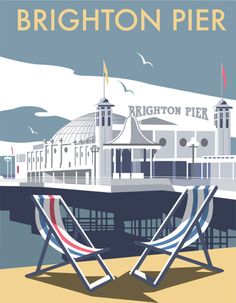 Brighton Pier print (the owners changed the sign from Palace Pier in an informal name change not recognised by the National Piers Society or many Brightonians). The full name of the pier is 'Brighton Marine and Palace Pier' British Travel, British Seaside, Travel Uk, British Isles, Railway Posters, Train Posters, Brighton And Hove, Brighton Sussex, Brighton England