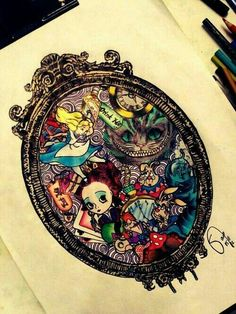 Alice in Wonderland art - I'd love this so much more if it didnt have the Tim Burton version on it. Still awesome though Art Kawaii, Aquarell Tattoo, Art Tumblr, Chesire Cat, Arte Sketchbook, Alice Madness, Dibujos Cute, Were All Mad Here, Lewis Carroll