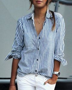 white stripes Casual Shirt Collar Stripes Print Long Sleeve Blouse For WomenBlouses | RoseGal…. - http://sound.#saar.city/?p=28656