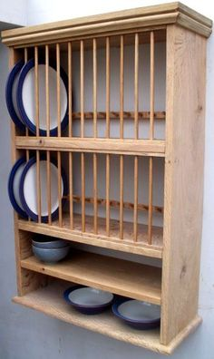The Stroud Rack - Oak Stroud Oak plate rack - Plate Racks In Kitchen, Diy Plate Rack, Plate Rack Wall, Plate Shelves, Kitchen Shelves, Kitchen Redo, Kitchen Storage, Kitchen Remodel, Kitchen Design